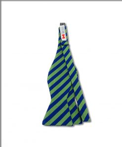 green and blue striped grosgrain silk bow tie that is self tied and shown untied
