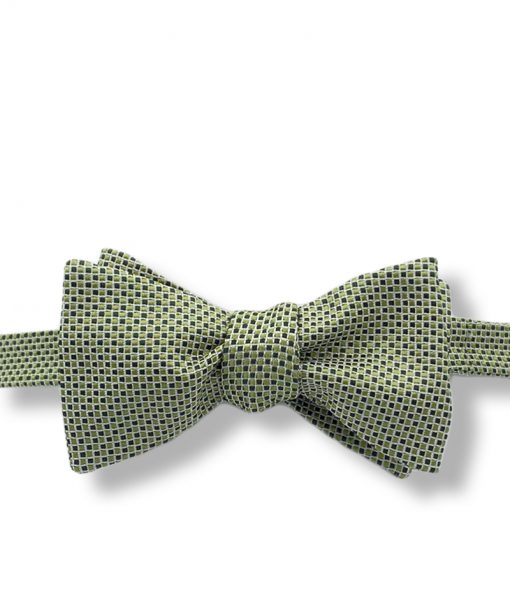 green checkered italian silk bow tie that is self tied and shown tied