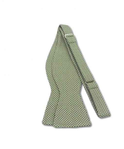 green checkered italian silk bow tie that is self tied and shown untied