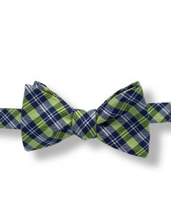 green plaid silk bow tie that is self tie and shown tied