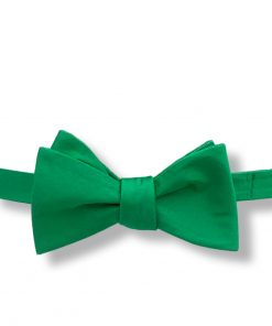 green silk bow tie that is self tie and shown tied