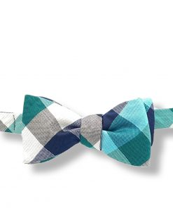 irvine-green-plaid-silk-self-tie-bow-tie shown tied