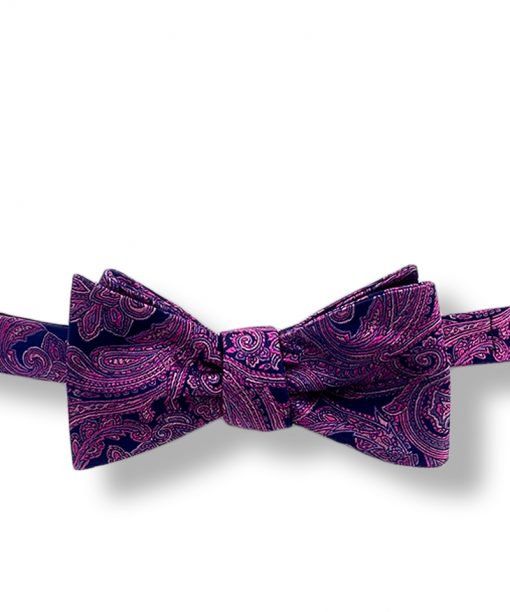 Larkspur purple paisley self tie bow tie with dark purple hits and flower pattern