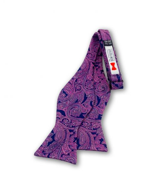 larkspur purple paisley bow tie that is self tied and is untied
