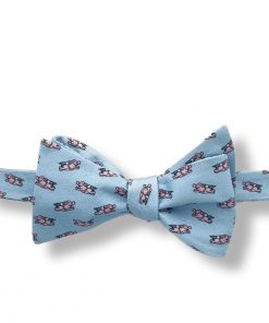 light blue pigs fly novelty silk bow tie that is self tie and shown tied