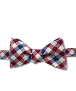 maroon red white and blue gingham silk self tie bow tie that is tied