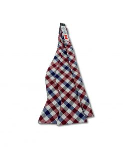 maroon red white and blue gingham silk self tie bow tie that is untied