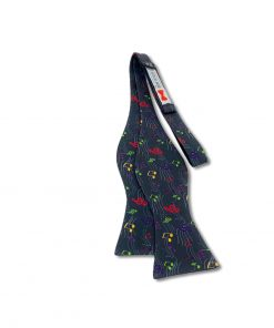 a bow tie with music notes pattern in charcoal gray color this is self tie and show untied