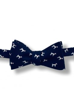 navy blue dog terrier silk bow tie that is self tie and shown tied