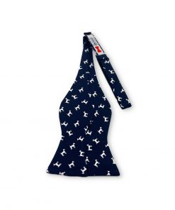 navy blue dog terrier silk bow tie that is self tie and shown untied