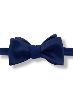 navy blue italian silk bow tie that is self tie and shown tied