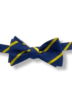 navy blue yellow stripes silk bow tie that is self tie and shown tied
