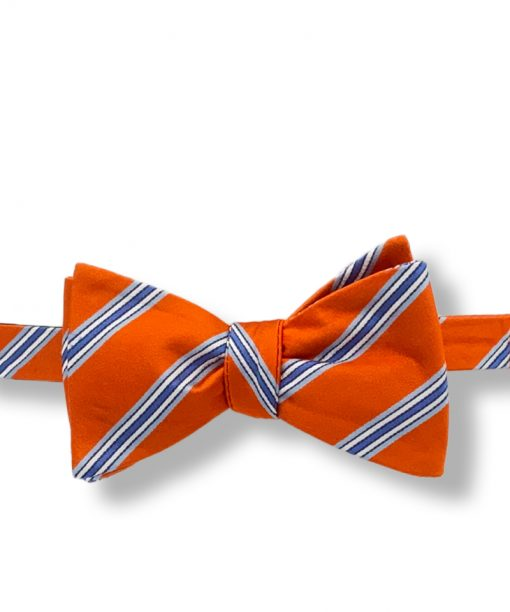 orange and blue striped silk bow tie that is self tie and shown tied