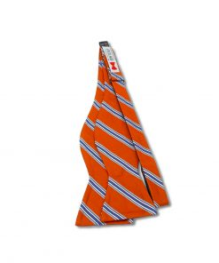 orange and blue striped silk bow tie that is self tie and shown untied