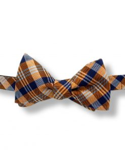 orange tartan silk bow tie that is self tied and shown tied