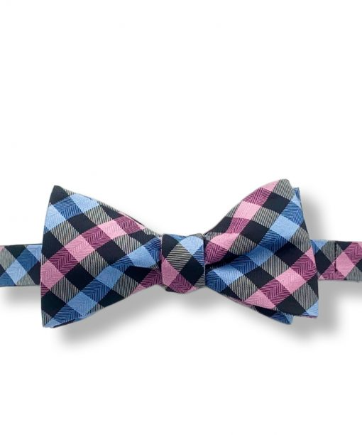 pink and blue gingham silk bow tie that is self tie and shown tied