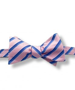 pink and blue stripes silk self tie bow tie shown tied