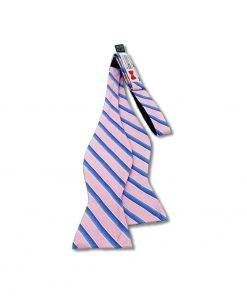 pink and blue stripes silk self tie bow tie shown untied