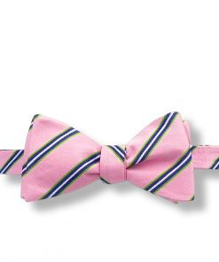 pink and green striped silk bow tie that is self tie and shown tied