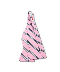 pink and green striped silk bow tie that is self tie and shown untied