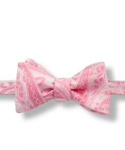 pink paisley silk bow tie that is self tie and shown tied