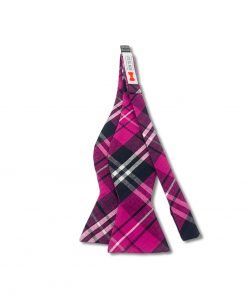 pink plaid cotton bow tie that is self tie and shown untied