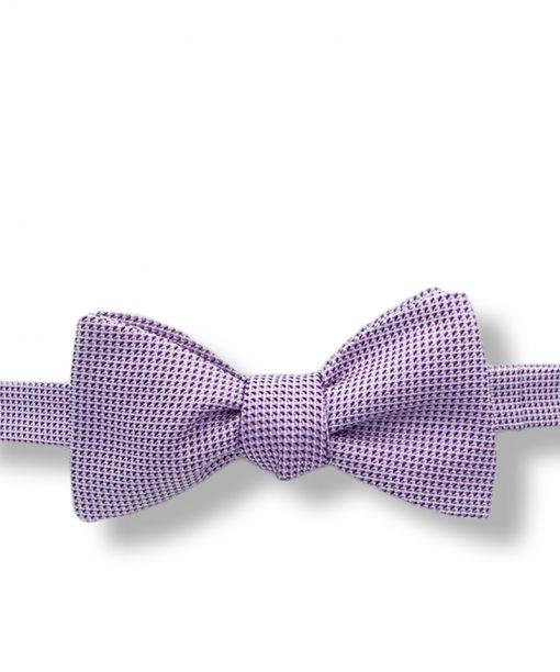 purple geometric italian silk bow tie that is self tie and shown tied
