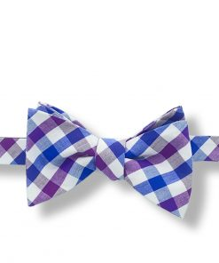 a purple gingham cotton bow tie that is self tied and shown tied