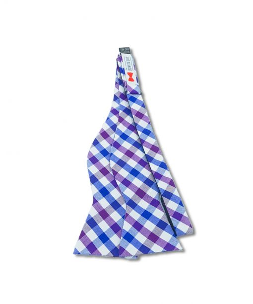a purple gingham cotton bow tie that is self tied and shown untied