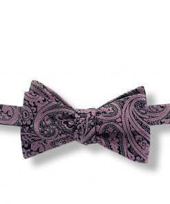 a bow tie with purple paisley color that is silk and self tie shown tied