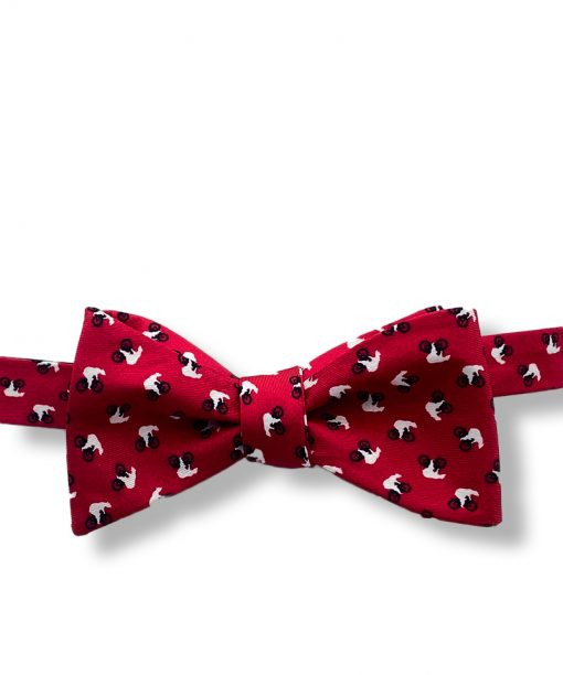 red bears riding bikes novelty silk self tie bow tie shown tied