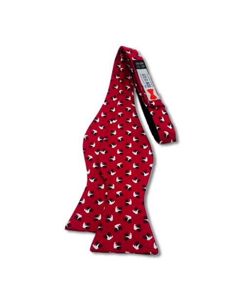 red bears riding bikes novelty silk self tie bow tie shown untied