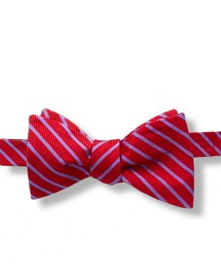 red and indigo stripes silk self tie bow tie shown tied