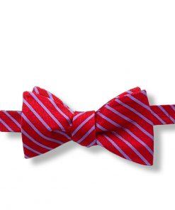 red and indigo stripes silk self tie bow tie shown tied