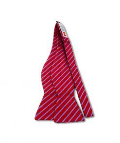 red and indigo stripes silk self tie bow tie shown untied