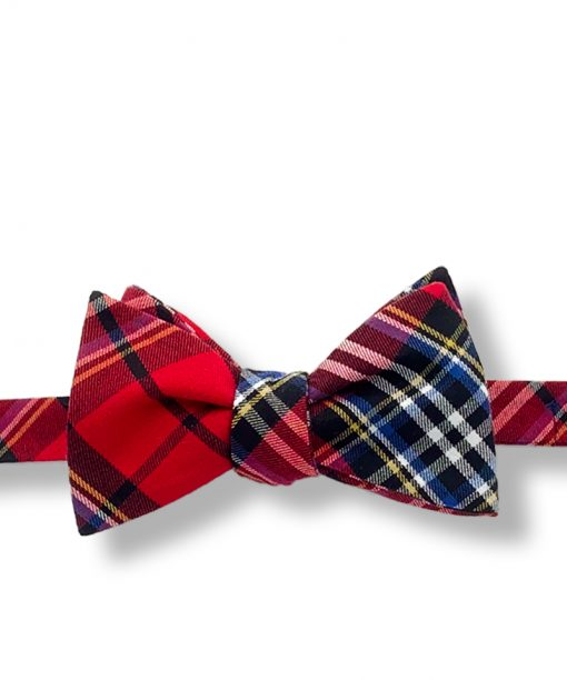 red tartan plaid cotton self tie bow tie that is shown tied