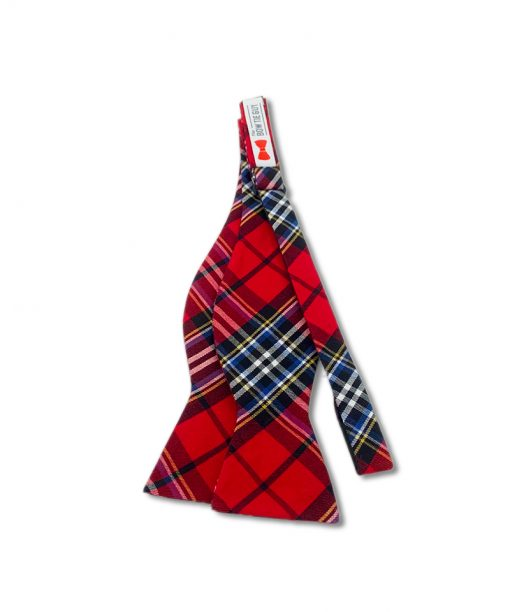 red tartan plaid cotton self tie bow tie that is shown untied