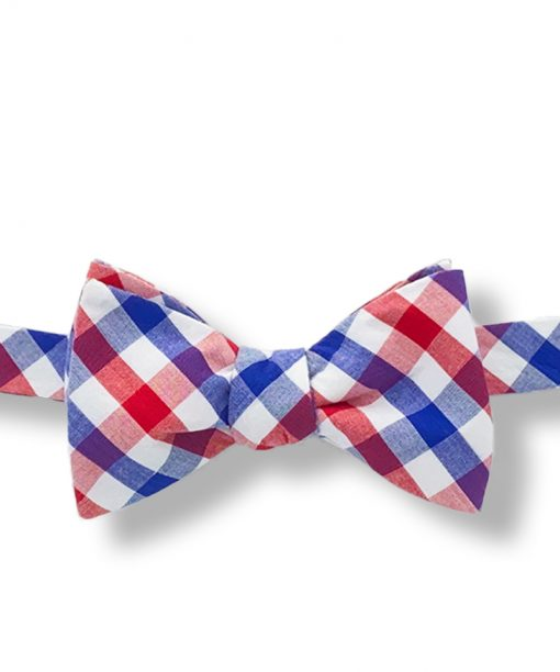 red white and blue gingham cotton self tie bow tie that is shown tied