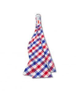 red white and blue gingham cotton self tie bow tie that is shown untied