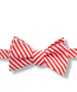 red and white seersucker striped cotton self tie bow tie that is shown tied