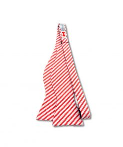 red and white seersucker striped cotton self tie bow tie that is shown untied