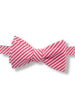 red and white striped cotton self tie bow tie shown tied