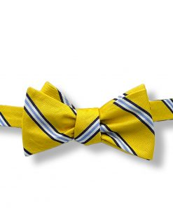 yellow and blue striped silk self tie bow tie showing it tied